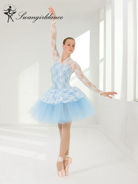 Girls long sleeve Debut Performance ballet tutu dress with lace,blue or lilac ballet tutu
