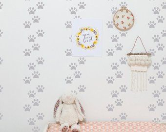 Cute Dog Paw Wallpaper For Dinning Room Paw Wallpaper Temporary Wallpaper Nursery Wallpaper
