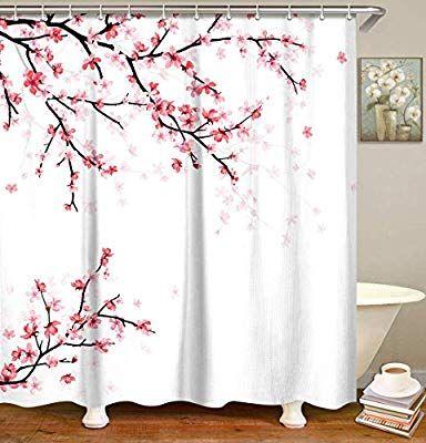 Amazon Com Livilan Pink Floral Shower Curtain Set With 12 Hooks
