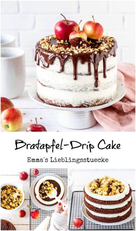Bratapfel Drip Cake Rezept Kuchen backen Schokolade Ganache #Apfel #Backen #Torte