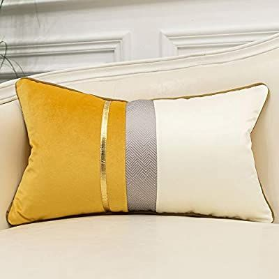 Amazon Com Avigers 12 X 20 Inches Yellow White Gold Leather Striped Patchwork Velvet Cushion Cas Decorative Pillows Couch Modern Throw Pillows Velvet Cushions