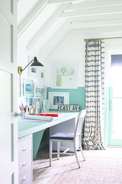 Get Creative Top Wall Ceiling Color Pure White Bottom Wall Turquoise Powder Home Office Colors Office Paint Colors Home Office Design