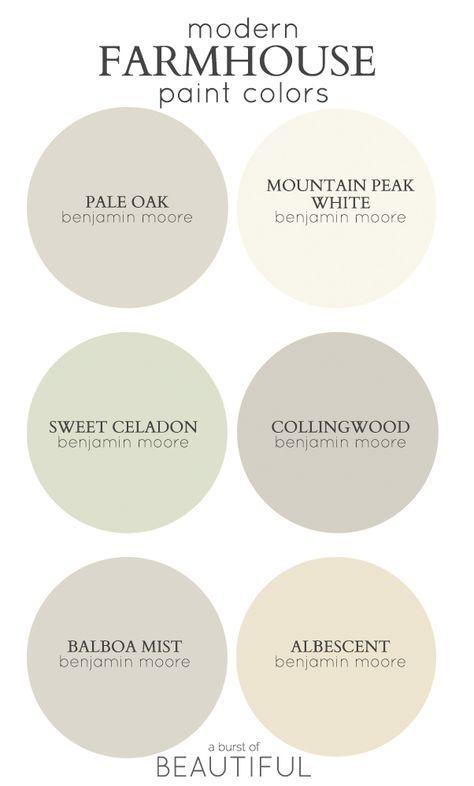 Modern Farmhouse Neutral Paint Colors
