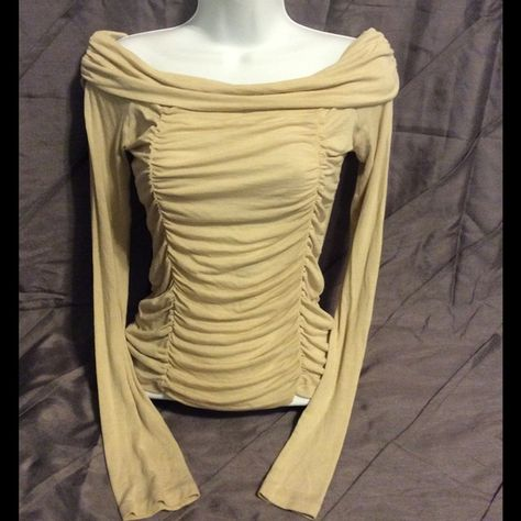 Nude Off Shoulder Stretch Top with Ruching - sz M Semi sheer, super stunning! Tops