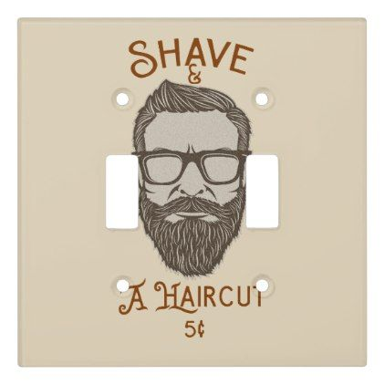 Shave A Haircut Retro Barber Shop Graphic Type Light Switch Cover Zazzle Com Light Switch Covers Light Switch Retro