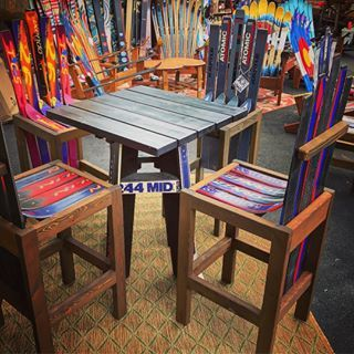 Ski Bar Stools When You Re Ready For The Big Leagues Works Of Art Handcrafted In The Rockies Coloradoskichairs Com U Ski Decor Outdoor Chairs Bar Decor