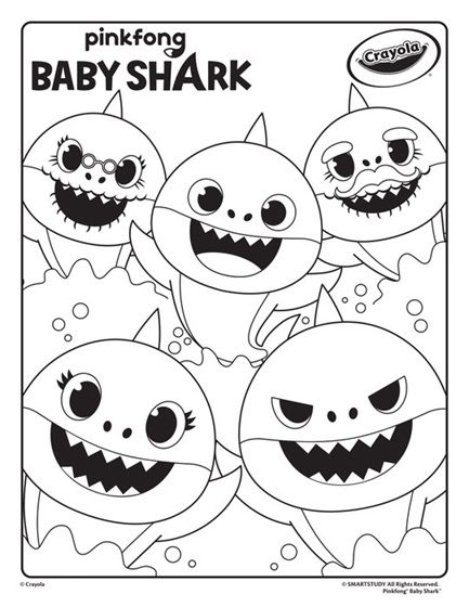 Baby Shark Coloring Page Crayola Com Shark Coloring Pages