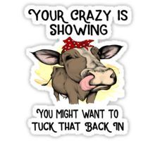 'Your Crazy Is Showing You Might Want To Tuck That Back In Funny Cow Gifts' by hustlagirl Cute Cows, Funny Cows, Funny Animals, Cow Quotes, Funny Quotes, Cow Gifts, Cow Shirt, Chicken Humor, Diy Tumblers