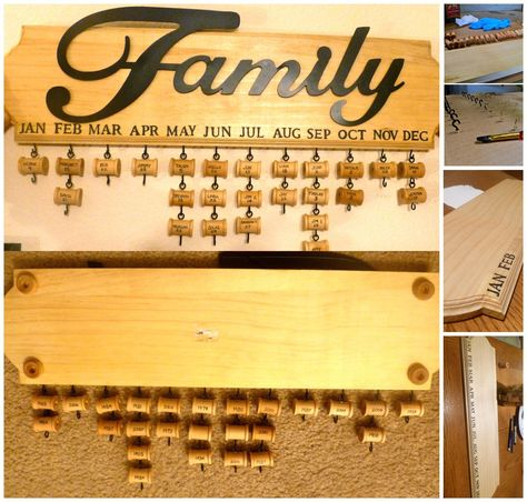 my version of the Birthday Calendar that's been floating around (made for 2011 Christmas present:) metal Family sign adds more dimension, stenciled months on & hand painted spools (hardware painted to match), front of spools have name & day, back of spools have year (how old the person is changes every year, but the year Never changes! So much easier to do math ;)