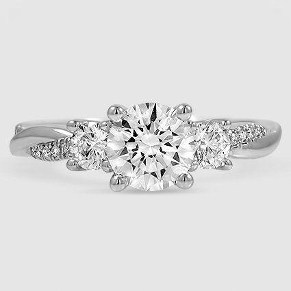 Three Stone Petite Twisted Vine Diamond Ring Engagement Rings Twisted Emerald Engagement Ring Set Engagement Rings Vintage Halo