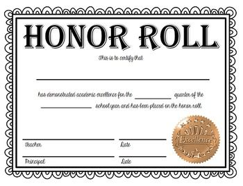 Honor Roll And High Honor Roll Certificates Now Editable In 2021 Certificate Template Honor Roll Graduation Certificate Template