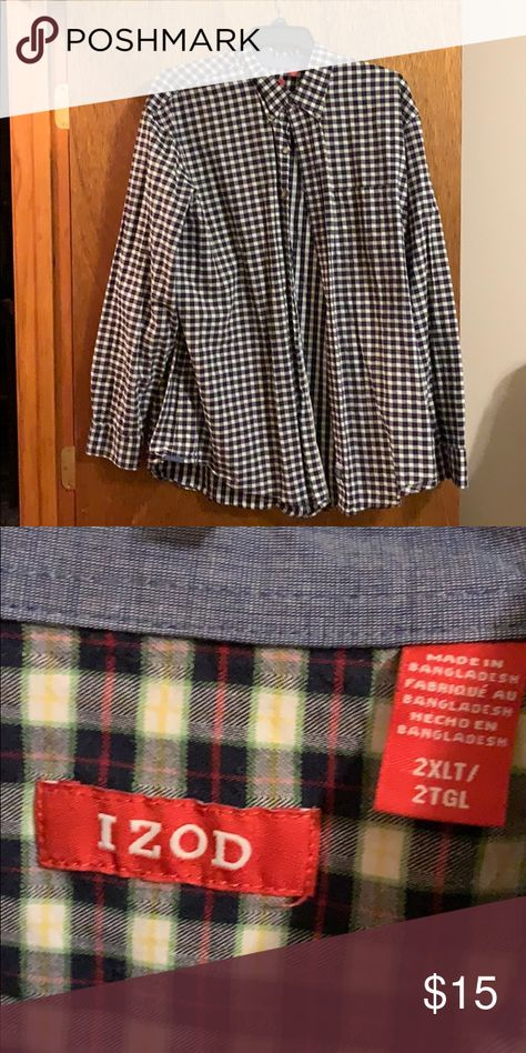 Izod 2XLT patterned button down Black with red and green pattern. Izod. 2XLT Izod Shirts Casual Button Down Shirts