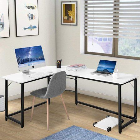 Modern Luxe L Shaped Desk Corner Computer Table Study Writing Desk For Home  Office,White, White