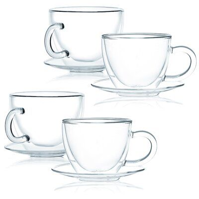 Teacup and Saucer Set Coffee Clear Glass Cup and Saucer Set-12 Piece