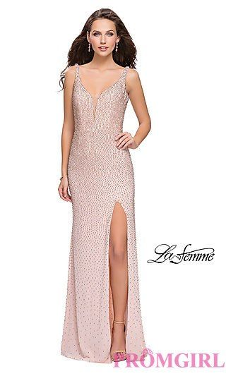 7b4ab2c28a94 La Femme Long Beaded Prom Dress with Open Back in 2019 | rose gold ...