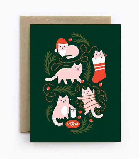 Christmas Cats Greeting Cards from The Detroit Card Co. #holidaycardideas