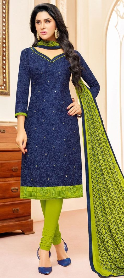 904255 Blue color family Cotton Salwar Kameez, Party Wear Salwar Kameez in Cotton fabric with Machine Embroidery, Resham, Thread work .