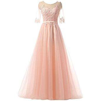 Clearbridal Damen Prinzessin Ballkleid Abschlusskleid Lang Abendkleid Langarm Mit Spitze Cah004 Rosa Gr 36 Prinzessin Kleid Damen Abendkleid Ballkleid