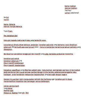 Contoh Surat Naik Gaji Surat