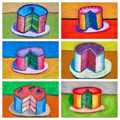 Art Room Britt: Wayne Thiebaud Oil Pastel Cakes You are in the right place about Art Education theor Food Art For Kids, Oil Pastel Art, Famous Art Paintings, Art For Kids, Pop Art Artists, Wayne Thiebaud Cakes, Art Lessons For Kids, Pastel Art, Food Art Painting