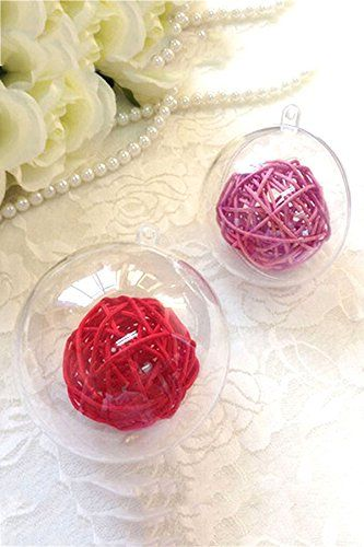 Kicode 10 Pack Christmas Decoration Hanging Ball Baubles 3 Clear Round Xmas Tree Home Decor Plastic