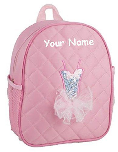 Personalized Quilted Pink Tutu Themed Backpack Dance Bag 12 Inches