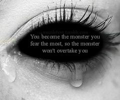 """""""I was haunted by monsters from my past, so I became the monster I feared the most so the monster wouldn't overtake me."""" """"And what was that monster? What have you become?"""" """"Darkness, anger, and fear itself. That is what I am now.""""  """"Always refer to people as *who*, not what, Ira. Don't tell me you've forgotten.""""  """""""