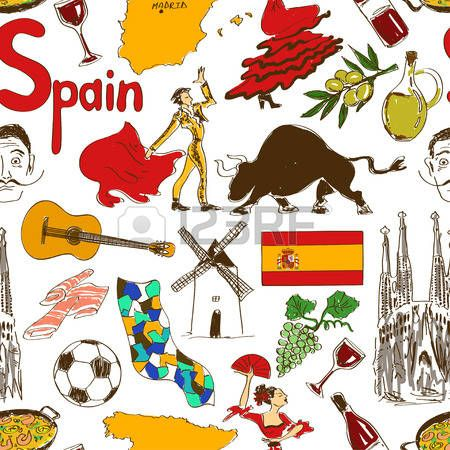 Colorful Collection Croquis De Symboles Espagnols Coeur Concept De Forme Fond Voyage Symbole Espagnol Symbole Espagne Croquis