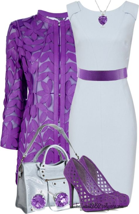 A fashion look from April 2013 featuring sleeved dresses, purple coats and purple pumps. Browse and shop related looks.