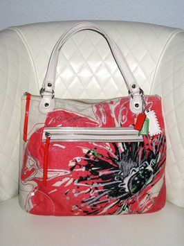 Coach Placed Flower Glam Poppy Orange Canvas Tote 63 Off Retail