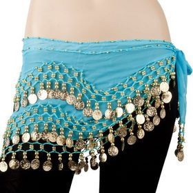 Kids Belly Dance Zumba Hip Scarf with Coins /& Beads Turquoise