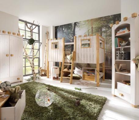 kinderzimmer mit einem hölzernen bett design mit rutsche - hochbett fur schlafzimmer kinderzimmer