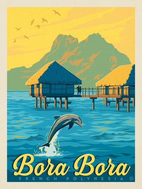 Vintage Travel Anderson Design Group – World Travel – French Polynesia: Bora Bora - Retro Poster, Poster S, Poster Prints, Photo Images, Art Images, Posters Decor, Bora Bora French Polynesia, Tahiti, Photo Vintage