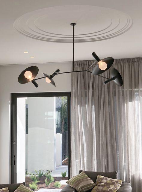 Modern Industrial Farmhouse Metal Pendant Ceiling Hanging Lighting Matte Black with Antique Brass Finish PUUPA 6 Lights Sputnik Chandelier Light Fixture