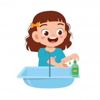 Feliz Crianca Menina Bonitinha Lavar A Mao Na Pia Kids Clipart Wash Hand Murals For Kids