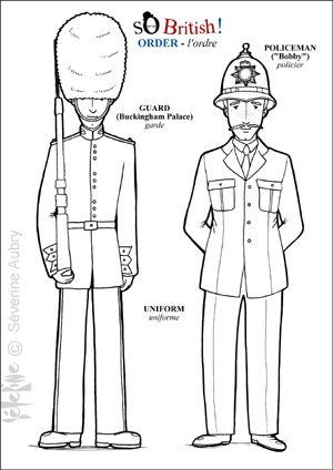 Angleterre Londres Bricolages Coloriages Pour Enfant Garde Anglais Angleterre Et Policier