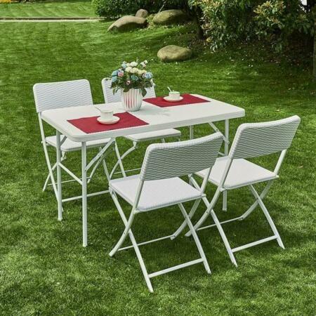 Set Giardino In Polyrattan.Great For Set Da Giardino In Poly Rattan Colore Bianco 5pz Dining