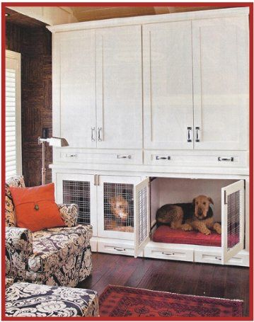 Built In Dog Bed With Storage Above Indoor Dog House Dog Crate