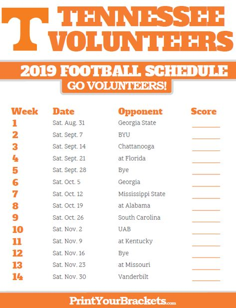 Tennessee Football Schedule 2020.2019 Vols Football Schedule Tennessee Volunteers Football