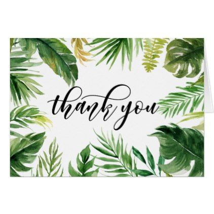 Watercolor Tropical Leaves Thank You Card Zazzle Com Custom