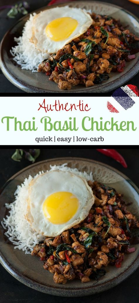 Spicy Thai Chicken Stir-Fry with Thai Basil and Chilies (Gai Pad Kra Pao) Try this authentic recipe for Thai Basil Chicken - a spicy Chicken Stir-Fry with Thai Basil and hot Thai Chillies { Gai Pad Kra Pao Thai Basil Recipes, Healthy Asian Recipes, Spicy Thai Basil Chicken Recipe, Thai Food Recipes, Vegetarian Recipes, Quick Recipes, Thai Street Food, Thai Chicken Stir Fry, Thai Stir Fry