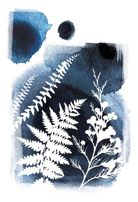 Botanical prints, leaf wall art, blue art print, watercolor painting, nature art print, poster, modern, home wall decor, apartment wall art,