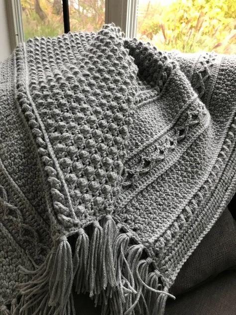 Dublin Aran Afghan - Slate Grey