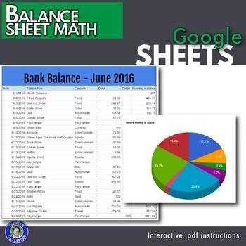 Google Sheets - Balance Sheet Lesson Balance sheet, Life skills - balance sheet pdf