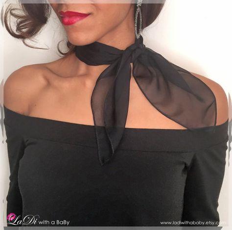 Handmade Neck Scarf - Black - Silk Chiffon Scarf - Square Scarf - Neck Tie - Hankerchief - Chiffon H