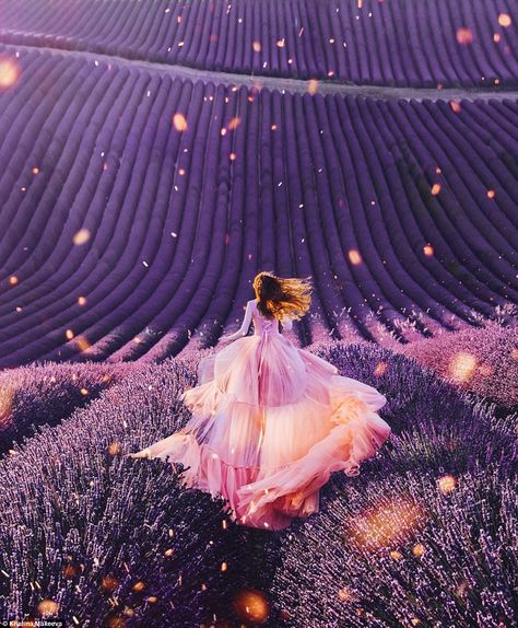 Miss Makeeva captured this beautiful shot of a model wearing a flowing pink dress set against a purple lavender field in Valensole in south eastern France