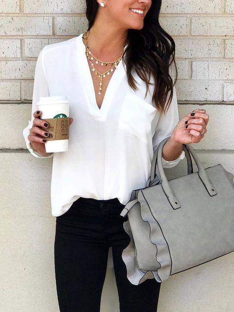 Fashion V Neck Chiffon Pure Colour T-Shirt - Frauenmode - Best Of Women Outfits