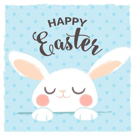 Download Happy Easter Greeting With Cute Rabbit for free