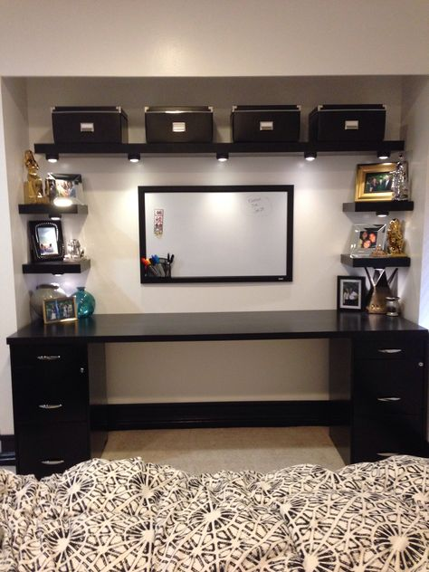 My DIY desk from a closet. IKEA shelves, desk, and boxes. Walmart filing cabinets.
