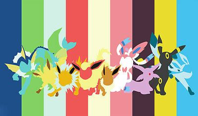 Pokemon Custom Playmat Eevee Family Evolution Sketch Pink Play Mat + FREE BAG